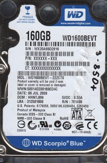 WD1600BEVT-22ZCT0, DCM HHNTJBN, Western Digital 160GB SATA 2.5 BSectr HDD