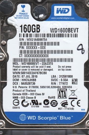 WD1600BEVT-22A23T0, DCM HHCVJHBB, Western Digital 160GB SATA 2.5 BSectr HDD