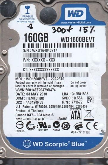 WD1600BEVT-22A23T0, DCM HEMTJHBB, Western Digital 160GB SATA 2.5 BSectr HDD