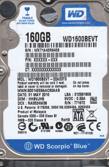 WD1600BEVT-22A23T0, DCM HHBVJHB, Western Digital 160GB SATA 2.5 BSectr HDD