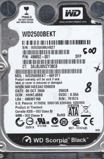 WD2500BEKT-60F3T1, DCM HHNTJBBB, Western Digital 250GB SATA 2.5 BSectr HDD