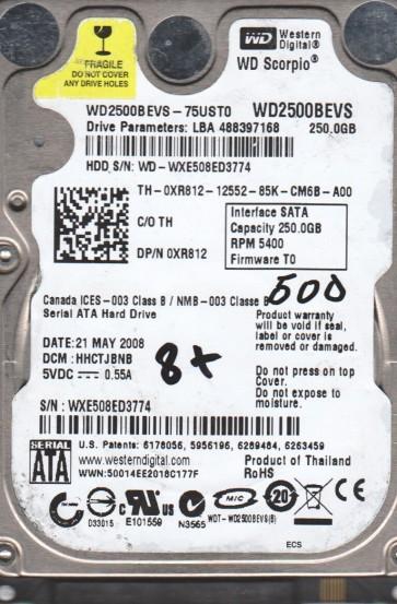 WD2500BEVS-75UST0, DCM HHCTJBNB, Western Digital 250GB SATA 2.5 BSectr HDD