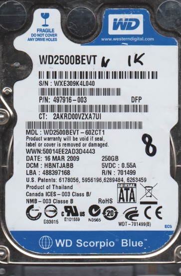 WD2500BEVT-60ZCT1, DCM HBNTJABB, Western Digital 250GB SATA 2.5 BSectr HDD