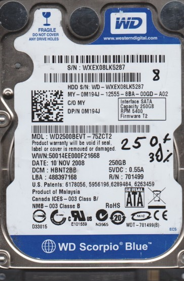 WD2500BEVT-75ZCT2, DCM HBNT2BB, Western Digital 250GB SATA 2.5 BSectr HDD