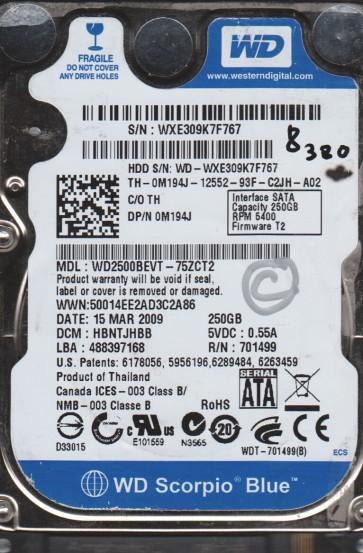 WD2500BEVT-75ZCT2, DCM HBNTJHBB, Western Digital 250GB SATA 2.5 BSectr HDD