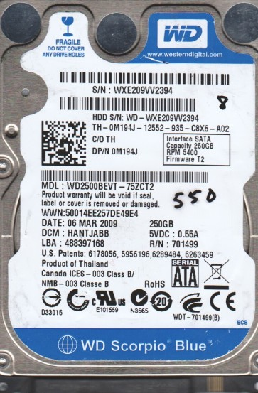 WD2500BEVT-75ZCT2, DCM HANTJABB, Western Digital 250GB SATA 2.5 BSectr HDD