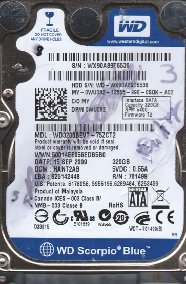 WD3200BEVT-75ZCT2, DCM HANT2AB, Western Digital 320GB SATA 2.5 BSectr HDD