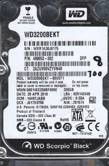WD3200BEKT-60V5T1, DCM HANTJABB, Western Digital 320GB SATA 2.5 BSectr HDD