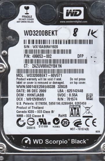 WD3200BEKT-60V5T1, DCM HBNTJBNB, Western Digital 320GB SATA 2.5 BSectr HDD