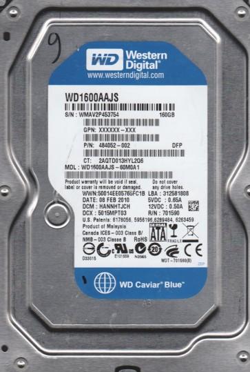 WD1600AAJS-60M0A1, DCM HANNHTJCH, Western Digital 160GB SATA 3.5 Hard Drive