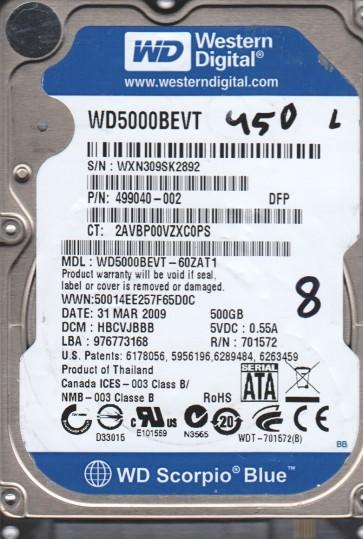WD5000BEVT-60ZAT1, DCM HBCVJBBB, Western Digital 500GB SATA 2.5 BSectr HDD