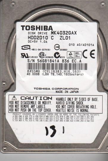 MK4032GAX, A0/AD101A, HDD2D10 C ZL01, Toshiba 40GB IDE 2.5 Hard Drive