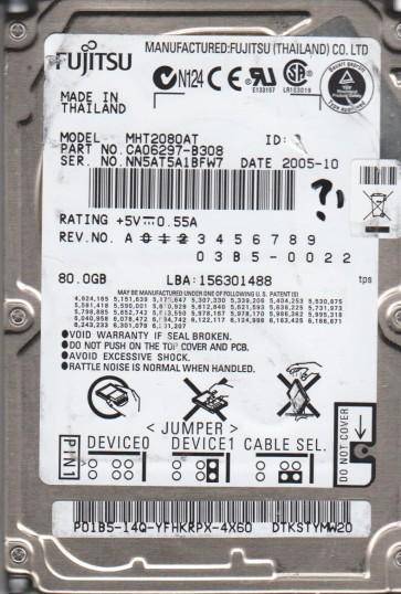 MHT2080AT, PN CA06297-B308, Fujitsu 80GB IDE 2.5 Hard Drive