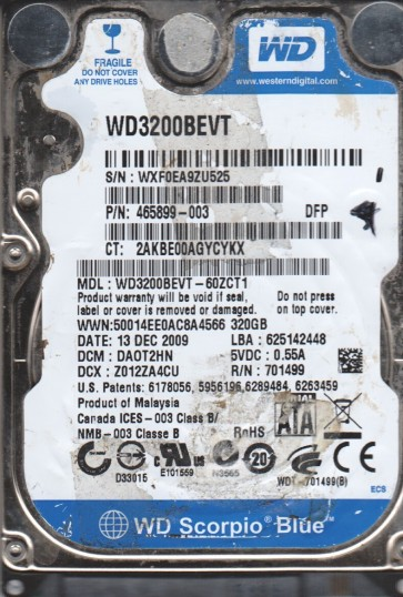 WD3200BEVT-60ZCT1, DCM DAOT2HN, Western Digital 320GB SATA 2.5 Hard Drive