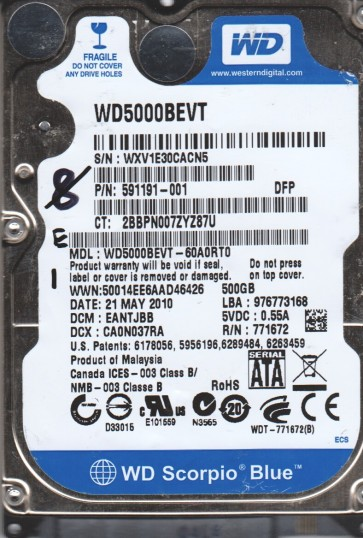 WD5000BEVT-60A0RT0, DCM EANTJBB, Western Digital 500GB SATA 2.5 Hard Drive