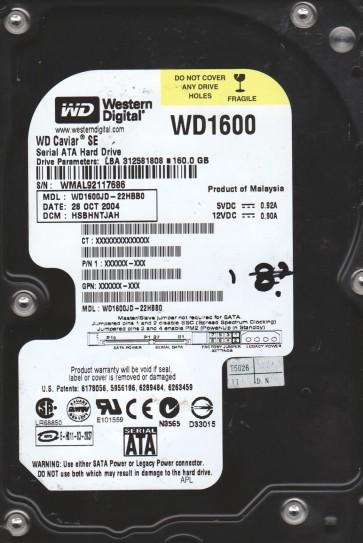 WD1600JD-22HBB0, DCM HSBHNTJAH, Western Digital 160GB SATA 3.5 Hard Drive