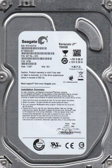 ST1500DL001, 5YD, WU, PN 9VT15L-570, FW CC96, Seagate 1.5TB SATA 3.5 Hard Drive