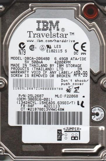 DBCA-206480, PN 25L2687, MLC F22068, IBM 6.5GB IDE 2.5 Hard Drive