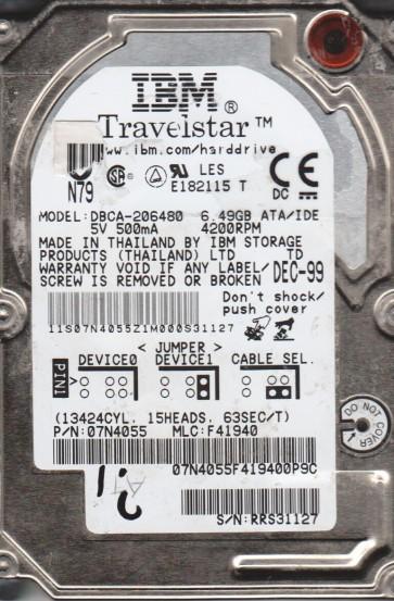 DBCA-206480, PN 07N4055, MLC F41940, IBM 6.5GB IDE 2.5 Hard Drive