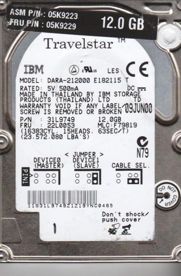 DARA-212000, PN 31L9749, MLC F79819, IBM 12GB IDE 2.5 Hard Drive