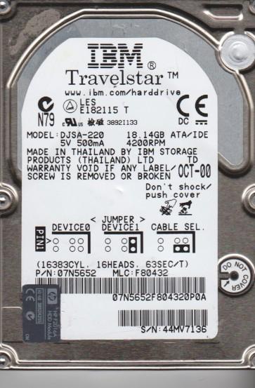 DJSA-220, PN 07N5652, MLC F80432, IBM 18GB IDE 2.5 Hard Drive