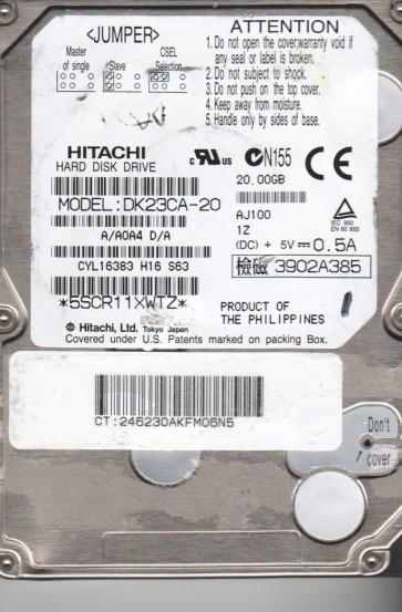 DK23CA-20, A/A0A4D/A, Hitachi 20GB IDE 2.5 Hard Drive