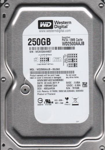 WD2500AAJB-00J3A0, DCM HBRNNT2AH, Western Digital 250GB IDE 3.5 Hard Drive