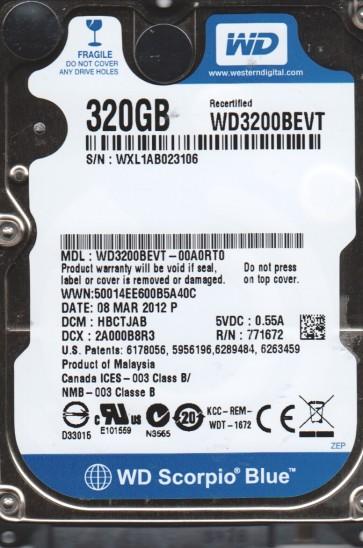 WD3200BEVT-00A0RT0, DCM HBCTJAB, Western Digital 320GB SATA 2.5 Hard Drive