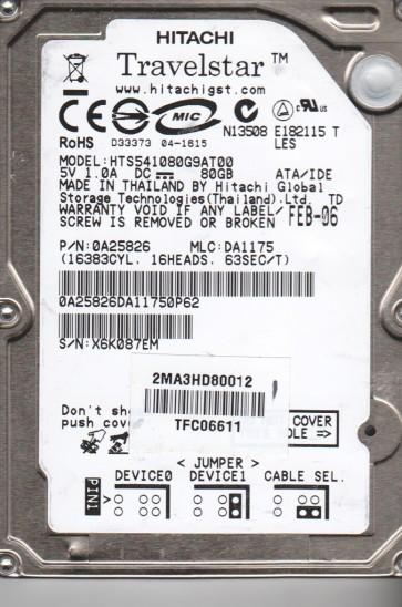 HTS541080G9AT00, PN 0A25826, MLC DA1175, Hitachi 80GB IDE 2.5 Hard Drive