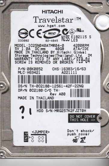 IC25N040ATMR04-0, PN 08K0852, MLC H69421, Hitachi 40GB IDE 2.5 Hard Drive