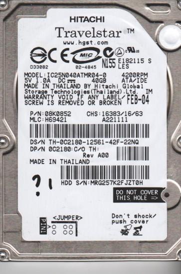 IC25N040ATMR04-0, PN 08K0852, MLC H69421, Hitachi 40GB IDE 2.5 Hard Drive