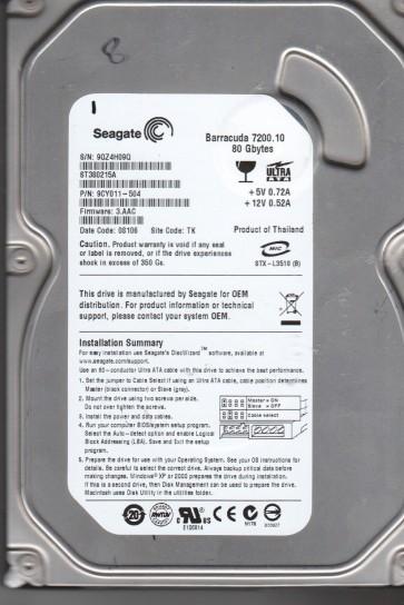 ST380215A, 9QZ, TK, PN 9CY011-504, FW 3.AAC, Seagate 80GB SATA 3.5 Hard Drive