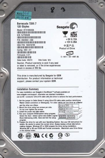 ST3120022A, 5JT, WU, PN 9W2002-006, FW 8.01, Seagate 120GB IDE 3.5 Hard Drive
