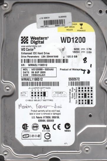WD1200BB-53DWA0, DCM HSBACAJAH, Western Digital 120GB IDE 3.5 Hard Drive