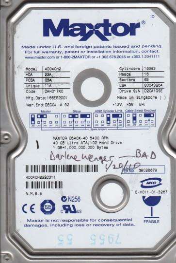 4D040H2, Maxtor 40GB Code DAH017K0 [NMBB] IDE 3.5 Hard Drive