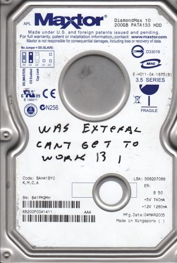 6B200P0, Code BAH41BY0, KMCA, Maxtor 200GB IDE 3.5 Hard Drive