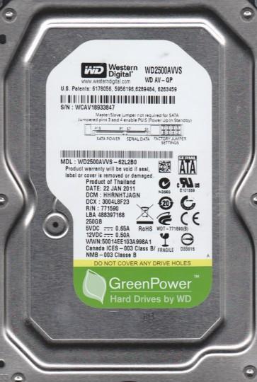 WD2500AVVS-62L2B0, DCM HHRNHTJAGN, Western Digital 250GB SATA 3.5 Hard Drive