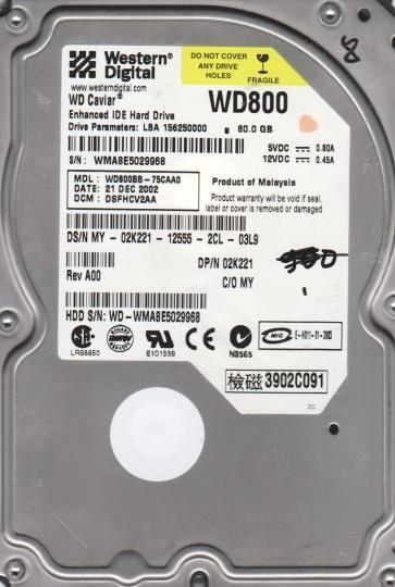WD800BB-75CAA0, DCM DSFHCV2AA, Western Digital 80GB IDE 3.5 Hard Drive