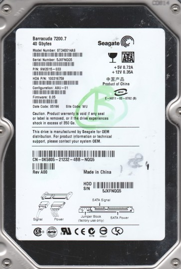 ST340014AS, 5JX, WU, PN 9W2015-033, FW 8.05, Seagate 40GB SATA 3.5 Hard Drive