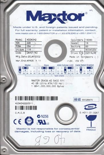 4D040H2, Maxtor 40GB Code DAH017K0 [CMCB] IDE 3.5 Hard Drive