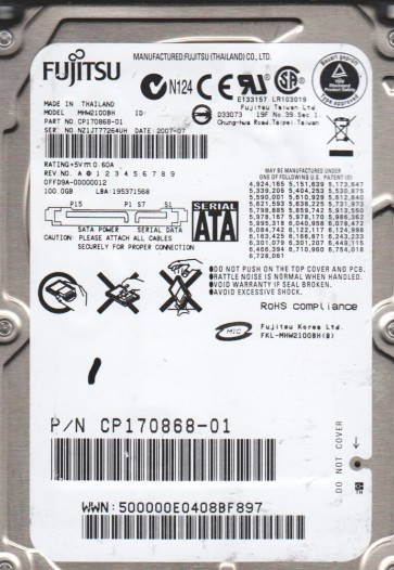 MHW2100BH, PN CP170868-01, Fujitsu 100GB SATA 2.5 Hard Drive