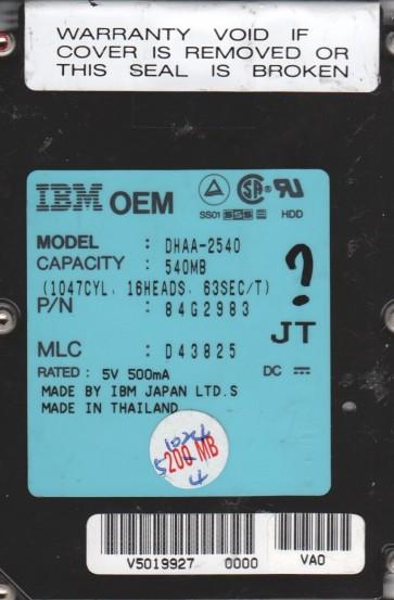 DHAA-2540, PN 84G2983, MLC D43825, IBM 540MB IDE 2.5 Hard Drive