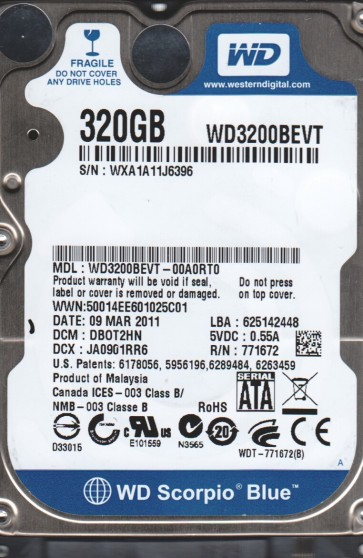 WD3200BEVT-00A0RT0, DCM DB0T2HN, Western Digital 320GB SATA 2.5 Hard Drive