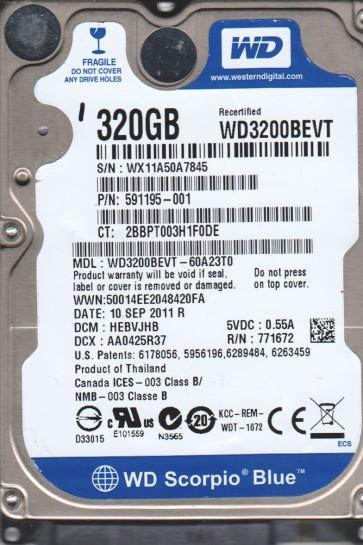 WD3200BEVT-60A23T0, DCM HEBVJHB, Western Digital 320GB SATA 2.5 Hard Drive