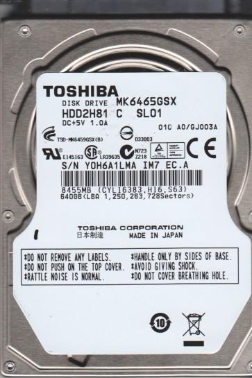MK6465GSX, A0/GJ003A, HDD2H81 C SL01, Toshiba 640GB SATA 2.5 Hard Drive
