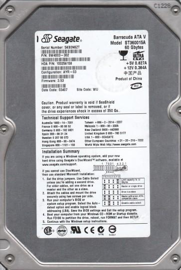 ST360015A, 5KB, WU, PN 9W4003-302, FW 3.53, Seagate 60GB IDE 3.5 Hard Drive