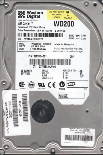 WD200BB-60BCB0, DCM RRBBNVFAW, Western Digital 20GB IDE 3.5 Hard Drive