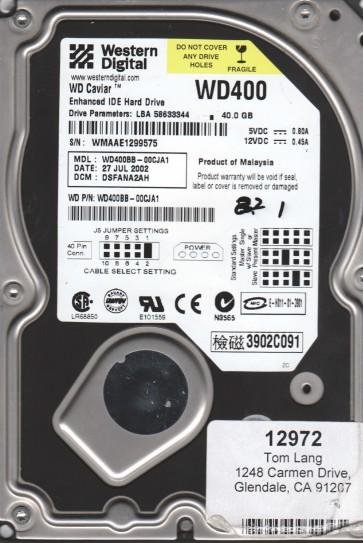 WD400BB-00CJA1, DCM DSFANA2AH, Western Digital 40GB IDE 3.5 Hard Drive