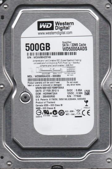 WD5000AADS-00S9B0, DCM HGRNNT2AH, Western Digital 500GB SATA 3.5 Hard Drive
