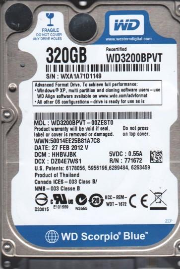 WD3200BPVT-00ZEST0, DCM HHBVJBK, Western Digital 320GB SATA 2.5 Hard Drive